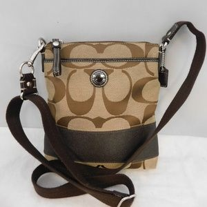 Coach Sig Stripe Brown/Tan Swingpack Crossbody Bag